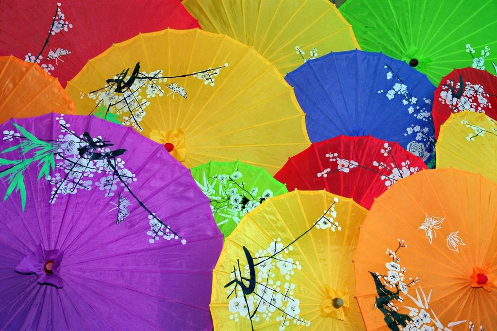 sombrillas japonesas de colores