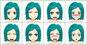 Anime chica en varias expresiones
